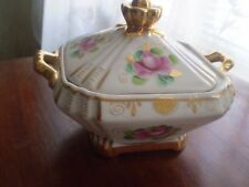 Vintage Hand Painted GZHEL Lidded Dish From Russia Bowl