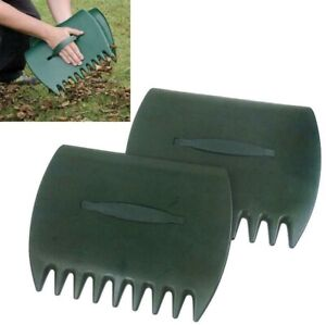 2x Handheld Leaf Grass Grabber Scoops Collector Leaves Garden Lawn Cleaning Rake