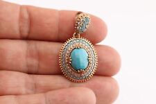 Special Design! Turkish Jewelry Oval Turquoise Topaz 925 Sterling Silver Pendant