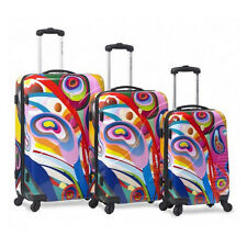 Bravura Rainbow Hard Case 3PC Rolling Spinner Luggage Suitcase Set 4 Wheel