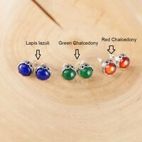 925 Solid Sterling Silver Stud Earrings Natural Lapis Lazuli, Chalcedony Stud