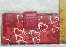Fossil Envelope Wallet Red Leather with Hearts
