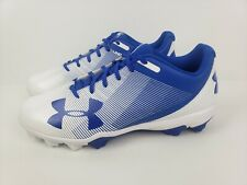 UNDER ARMOUR UA LEADOFF BASEBALL CLEATS SHOES WHITE BLUE SIZE 12 1297317-411