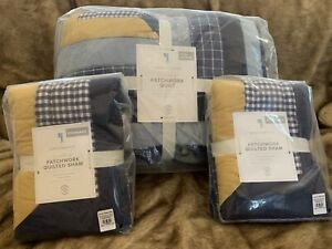 POTTERY BARN KIDS Charlie Patchwork Full Queen  Quilt Standard Shams Multi Color