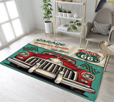 US Route 66 Retro Red Car Garage Area Rugs Memory Form Living Room Floor Mat Rug