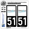 2 Stickers autocollant plaque immatriculation : 51 Tinqueux - Ville