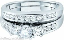 14k 1.00Ct Diamond Band Ring Wedding Set White Gold New w/Tag Size 7 Engagement