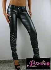 Sexy pantaloni Slim Eco Pelle Skinny Argento MET elasticizzato vita bassa Tg. 28