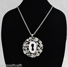 NEW LUCKY BRAND SILVER TONE FLOWER+LOCK,KEY HOLE+CHAIN ROUND NECKLACE,PENDANT
