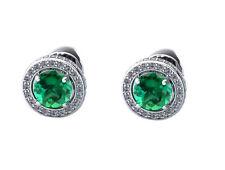 14KT White Gold 2.30 Carat Natural Green Emerald EGL Certified Diamond Studs