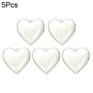 5X Clear Fillable Heart Baubles Plastic Wedding Favours Xmas 8cm Love I4X3