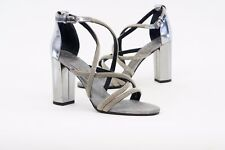 NWD $1795 Brunello Cucinelli Metallic Monili Strap Beaded Block Sandal 37/7 A176