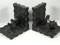 Pair (x2) Mid-Century Wood Midevil Bookends Gothic Mace Pitchfork dungeon