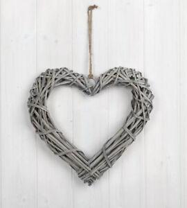 Medium 30cm Grey Wash Willow Wicker Hanging Heart Shabby Chic Wedding Wreath