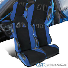 Royal Blue Cloth Material Full Reclinable Racing Bucket Seats+Slider Left+Right