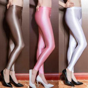 Women Satin Glossy Opaque Pantyhose Shiny fitness Stockings Zipper Open Crotch
