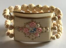 VINTAGE CELLULOID FRENCH IVORINE CARVED BEADED FLOWERS STRETCH BRACELET