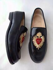 CHRISTIAN LOUBOUTIN 35.5 Perou Corazon Appliquéd Black Smoking Loafer Shoes $995