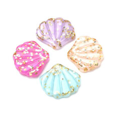 200pcs Resin Paillette Shell Pendants Charms Smooth Craft Jewelry Making 18x20mm