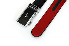 Men Belt real Genuine Cow Leather Auto Lock Buckle black red septwolves 20173-2