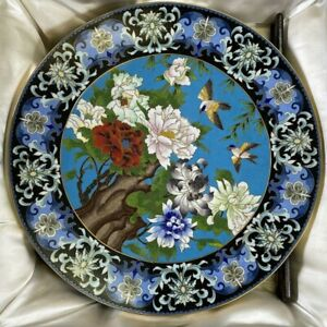 Vintage Handmade Cloisonné Ware Tianjin China Flower Large Cabinet Plate NOS Box