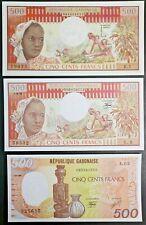 Gabon Variety Lot of Three 500 Francs Bank Notes From 1985 1978 & 1974