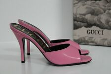 New sz 7 / 37 Gucci Scarlet Pink Patent Leather Mule Slip-On Open Sandal  Shoes