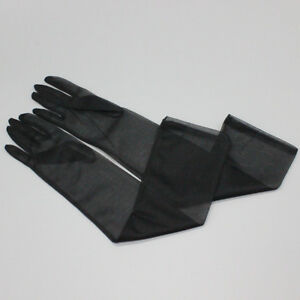 Tulle Long Gloves Stretchy Lace Nylon Black Semi Sheer Touchscreen Lucid Glove