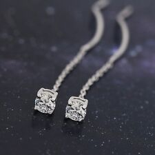 925 Sterling Silver 4mm Zirconia CZ Thread Line Dangle Threader Earrings A1486