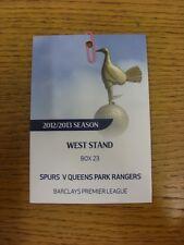 23/09/2012 Ticket: Tottenham Hotspur v Queens Park Rangers [West Stand Executive