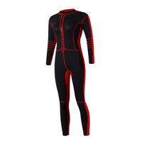 3mm Women Wetsuit Front Zipper For Diving Swimming UV Protection Black & Red
