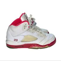 Nike Air Jordan 5 Retro GS White Legacy/Red Scarlet Fire 440892-101 6Y 7.5 Women