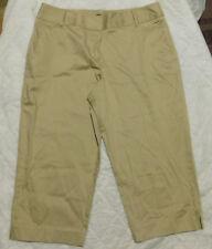 GEORGE Women's Beige Sateen Cotton Blend Casual Dress Capri Pants Size 14