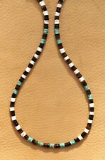 TURQUOISE NECKLACE GENUINE GEMSTONE HEISHE SILVER 4mm BEADS ACTIVE WEAR SURFER
