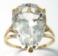 SYJEWELLERY 9CT YELLOW GOLD NATURAL WHITE TOPAZ & DIAMOND RING  SIZE N  R1271