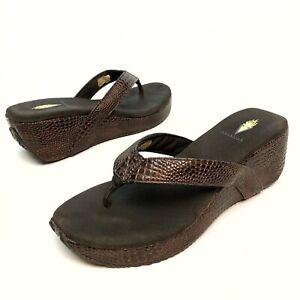 @@ Women's Volatile Snake Print Platform Wedge Thong Sandals Women's US Shoe 10