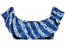 Victoria's Secret Off The Shoulder Ruffle Flounce Crop Bikini Top Tie Dye M NEW