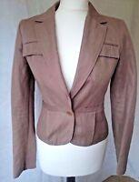 Reiss womens size 8 ladies taupe brown linen short blazer classic jacket.