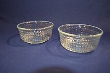 2 Fortecrisa Mexico Clear Glass Bowls Cube checker Pattern 5 inch textured crisa