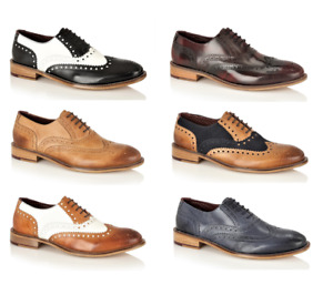 London Brogues Gatsby Mens Leather Brogue Formal Shoes 7 8 9 10 11 12