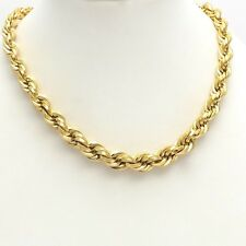 18k Gold Graduated Width 7 to 4mm Round Rope Link Chain Necklace 17 inch 23.7gr