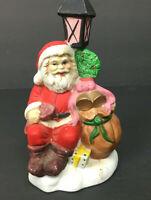 Vintage Santa Claus w/ Light Post & Toy Bag Ceramic Christmas Holiday