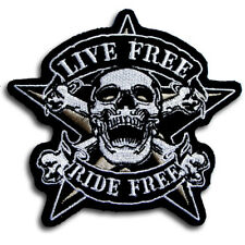 Live Free Ride Free Skull Patch Iron On Demon Gambling Gamble Ride to Live Biker