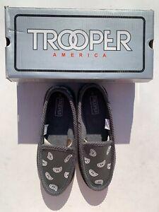 Trooper America Gray White Bandana Canvas Slippers Men Size 9