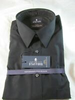 NWT STAFFORD BIG & TALL PERFORMANCE SUPER SHIRT X-TALL FIT, Black Solid