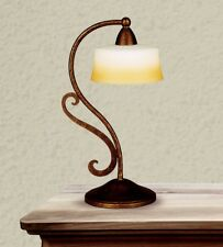 Bedside Lamp Lumetto Classic Metal Bronze And White Glass Cream