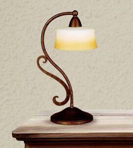 Bedside Lamp Lumetto Classic Metal Bronze And White Glass Cream