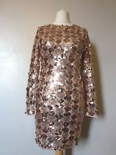 Dans le style L/S hanalise Sequin Robe Moulante Taille 10 Bnwt Rrp £ 48.98 Or Rose