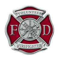 Volunteer Firefighter Maltese Cross Sticker - Red Fire Department Truck Decal