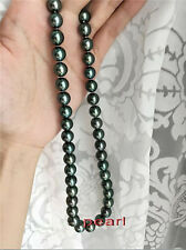 "18"" Stunning AAA+ 9-10mm real natural Tahitian black round pearl necklace 14k"